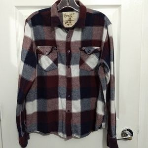 Coastal plaid flannel button down maroon navy
